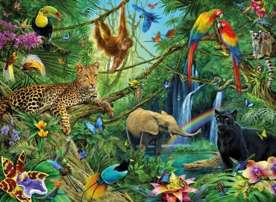 Large puzzel dieren in de jungle 200